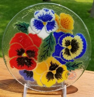 """Peggy Karr 5 3/4"""" Fused Glass Pansies Pansy Plate"""