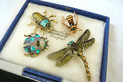 Mixed Lot Of Enamel Bee Beetle Dragonfly Insect Bug Brooches Pins