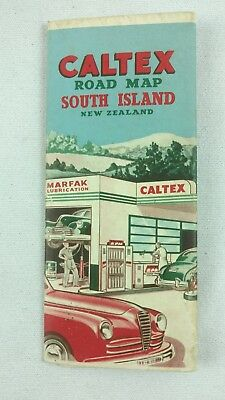 Vintage 1940's Caltex New Zealand Road Map South Island