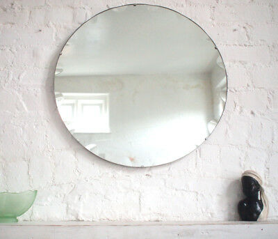 Round Frameless Antique Art Deco Wall Mirror 1920s Vintage Large Bevelled Edge