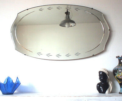 Oval Frameless Antique Art Deco Wall Mirror 1920s Vintage Large Bevelled Edge