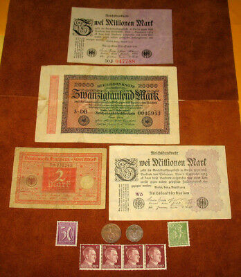 Rare Wwii Germany Coins With Swastikas! Old German Stamps And Banknotes! #39