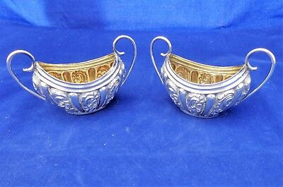 Antique Victorian Silver Boat Shaped Salts Two Handled HM Birmingham 1895 53g