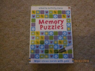 Usborne Wipe Clean Activity Cards - Memory Puzzles - Excellent Condition