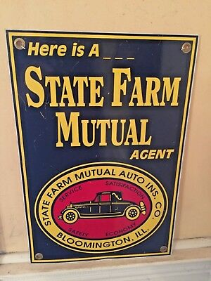 Vintage State Farm Mutual Insurance Agent Two Sided Porcelain Sign