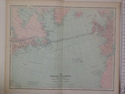 The North Atlantic & It's Coasts, 1861 Antique Map, Hughes, Atlas