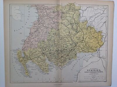 The Counties Of Dumfries, Kirkcudbright, 1861 Antique Map, County, Hughes, Atlas