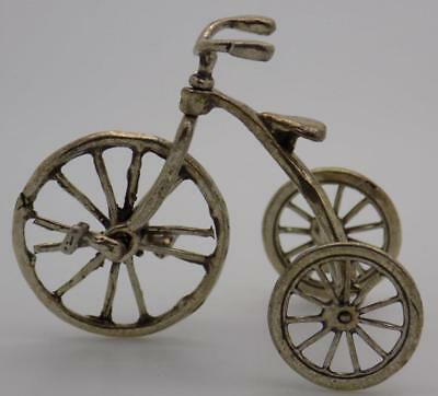 Vintage Solid Silver Italian Made Large Tricycle Miniature, Figurine, Stamped*