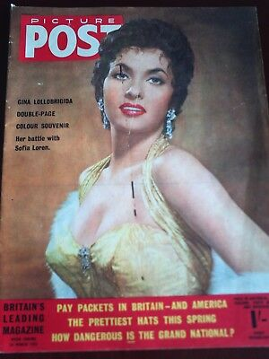 PICTURE POST. 26th MAR. 1955. GINA LOLLOBRIGIDA FRONT COVER.