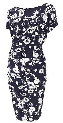 Isabella Oliver Blue White Floral Ferndale Maternity Pea In The Pod Dress Size 4