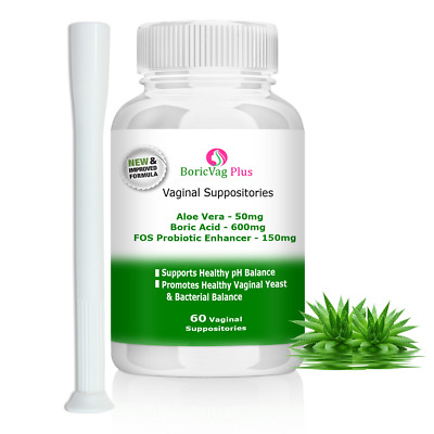 Boric Acid Suppositories Capsules| 60 Caps |With Aloe Vera, Vinegar & Probiotics