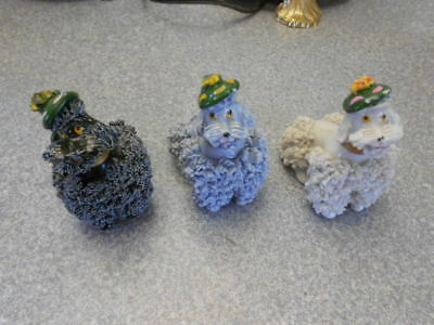 3 Vintage Porcelain Figurines White, Grey, & Blue Spaghetti Poodles With TAG GNC