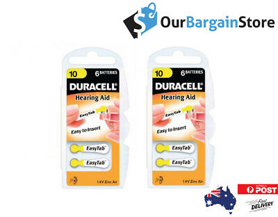 Duracell Hearing Aid Batteries #10 Zinc Air 2X6 Packs
