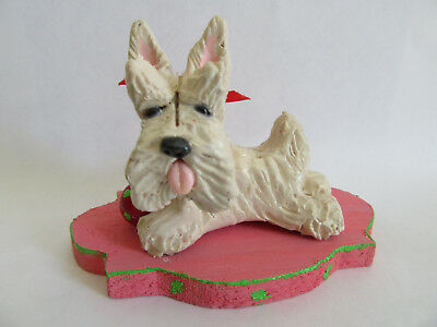 HAND SCULPTED ART~~~WHEATEN SCOTTIE Terrier PLAYING WITH A CUTE  BALL~~~Figurine