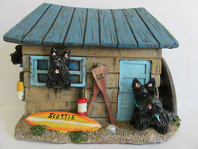 HAND SCULPTED ART~~~4 BLACK SCOTTIES Terriers FAMILY PLAYING AT THE BEACH HOUSE~