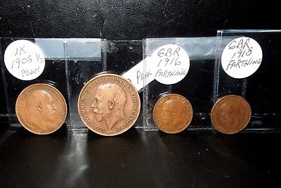 LOT GB English coins PRE WW1 UK Collectible Penny, Lg Penny, Farthing George V