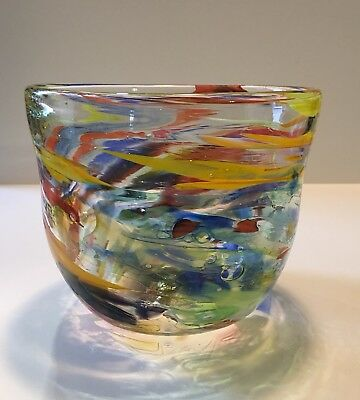 Peter Zelle Handcrafted Signed Art Glass Bowl