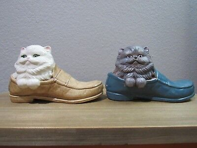 Adorable HANDMADE Vintage Pair of Persian Cats in Loafers
