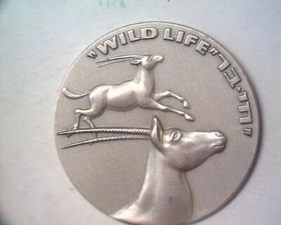 1973 Israel Silver Wildlife Medal Hai-Bar Biblical Animals .935 Sterling OGP