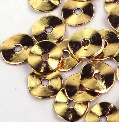 50 Antique Gold Pewter Washers Spacer Wavy beads 10mm