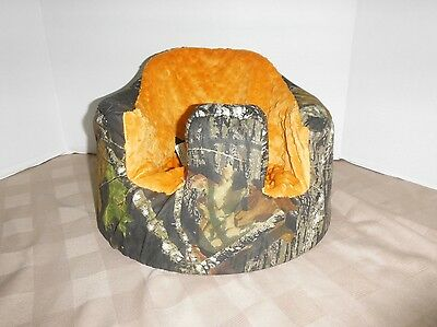 New Bumbo Floor Seat COVER - MOSSY OAK w/Orange Seat  - Safety Strap Ready