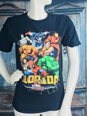 MARVEL HEROES Retro Florida Black Avengers Super Hero Youth XL T-shirt 14/16