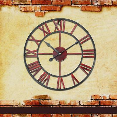 Classic Large Metal Wrought Iron Wall Clock Provincial Roman Numerals Home Decor