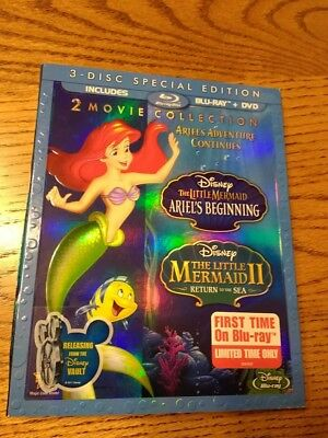 Disney The Little Mermaid Blueray/ DVD Little Mermaid 2 and Ariels Beginning