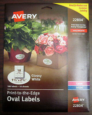 180 (10x18/Sheet) Avery 22804 Inkjet/Laser Glossy White Oval Labels 1-1/2x2-1/2""