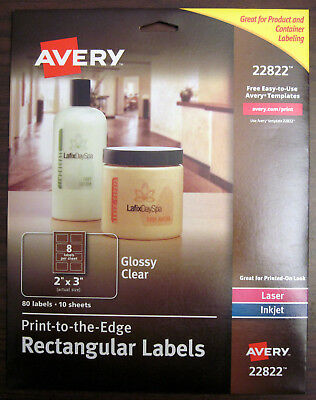 "80 (10 x 8/Sheet) Avery 22822 Inkjet/Laser Glossy Clear Rectangle Labels 2"" x 3"""