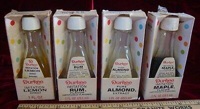 Vintage Durkee Extracts and Flavors, Almond, Lemon, Maple, Rum, Glass Bottles