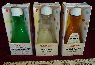 Vintage Durkee Extracts, Peppermint, Anise, Brandy, in Glass Bottles