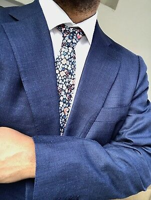 NWT Suitsupply LAZIO Blue Plain Wool, Silk, and Linen Suit - Size 42L  *Great**
