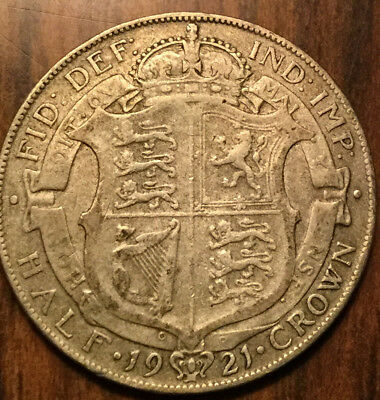 1921 Uk Gb Great Britain Half Crown .500 Silver