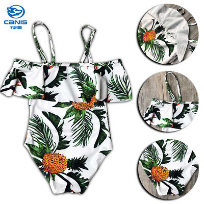 Mom Daughter Off-shoulder Swimsuit Pineapple Family Matching Monokini Swimwear