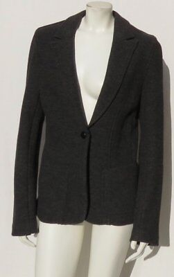 J CREW Women's Gray Stretch Virgin Wool Knit Fitted Blazer Jacket size L fits M