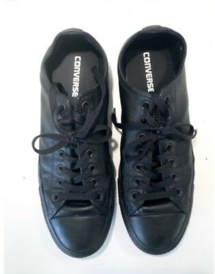 Black Leather Converse Chuck Taylor All Star  - Mens Size 9 Womens 11