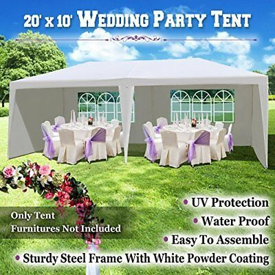 White Canopy Party Tent 10'x20' Gazebo Pavilion Cater Events 6 Sidewalls Outdoor