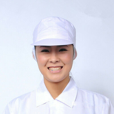 Elastic Poly Cotton Catering Baker Kitchen Cook Chef White Hat Costume Snood QY