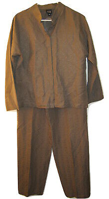 Eileen Fisher Womens Banded Collar Pants Jacket 2 pc Suit set 100% silk L Large