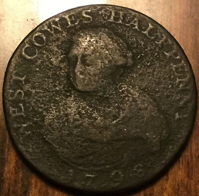 1798 Uk Gb Great Britain West Cowes Halfpenny Token