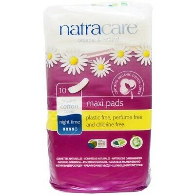 NATRACARE - Natural Feminine Maxi Pads Night Time Extra Long - 10 Pads