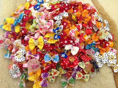 New 100 PCS Handmade Designer Pet Dog Accessories Grooming Hair Bows For Dogs