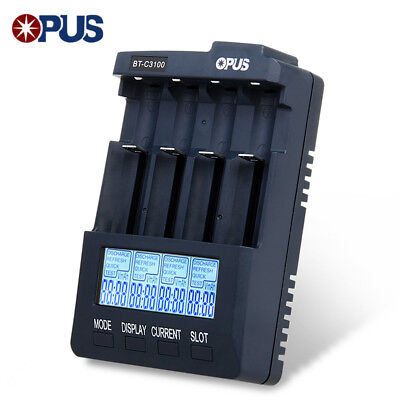 Opus BT-C3100 V2.2 4 Slots Smart Battery Charger for Li-ion NiCd NiMh Batteries