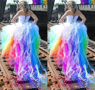 RAINBOW COLORED WEDDING Dresses Strapless Outdoor Country Bridal ...