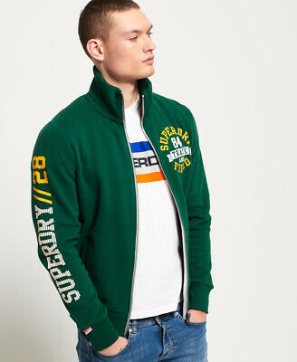 New Mens Superdry Trackster Track Top Track Green