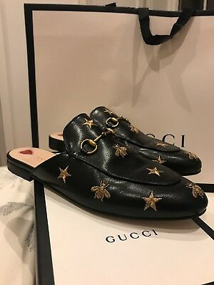 Gucci Princetown embroidered leather slippers  Size 40.5 UK 7.5