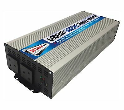 HUGE power inverter 3000W 6000W peak caravan boat motorhome 12v to mains o/P USB