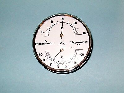 MEGA QUARTZ thermometer / hygrometer INSERT  70mm Chrome Bezel