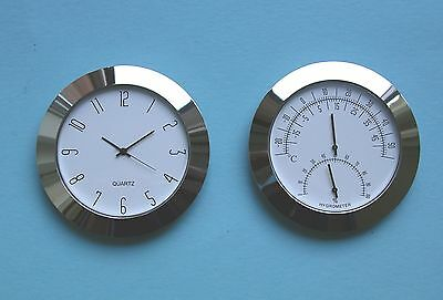 65mm BEZEL insert Watch and Thermometer Hygrometer Movements silver white dial